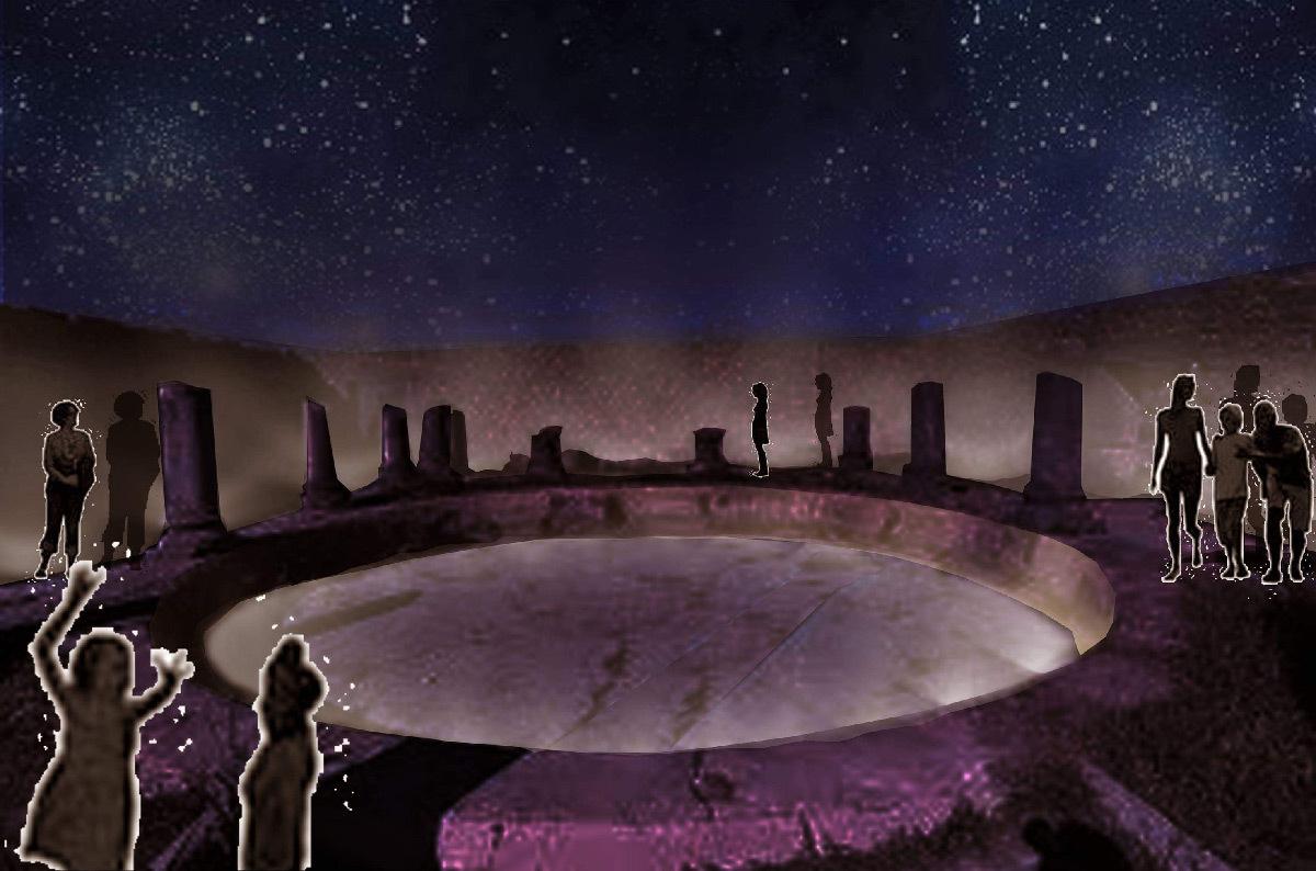 Simulation lumière, maison des colonnes, Volubilis, Maroc - Tifawine Light Contest, Illuminate, équipe 8 © Bassiouni Wafa et Machhour Btissam