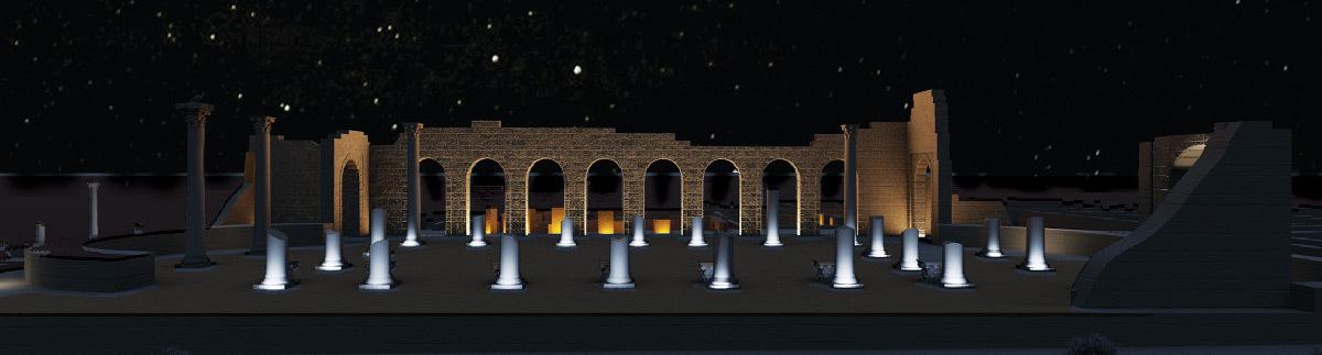 Simulation lumière, vue arrière de la Basilique, Volubilis, Maroc - Tifawine Light Contest, Illuminate, équipe 14 © Mahmoud Ramdane et Soukaina Kssili