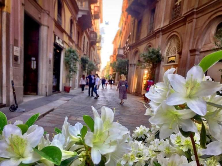 """#paracegover Descrição para deficientes visuais: a imagem mostra uma rua de pedestres (no famoso """"Quadrilátero da moda"""" onde estão as lojas das marcas mais conhecidas) vista por trás de um vaso de flores brancas."""
