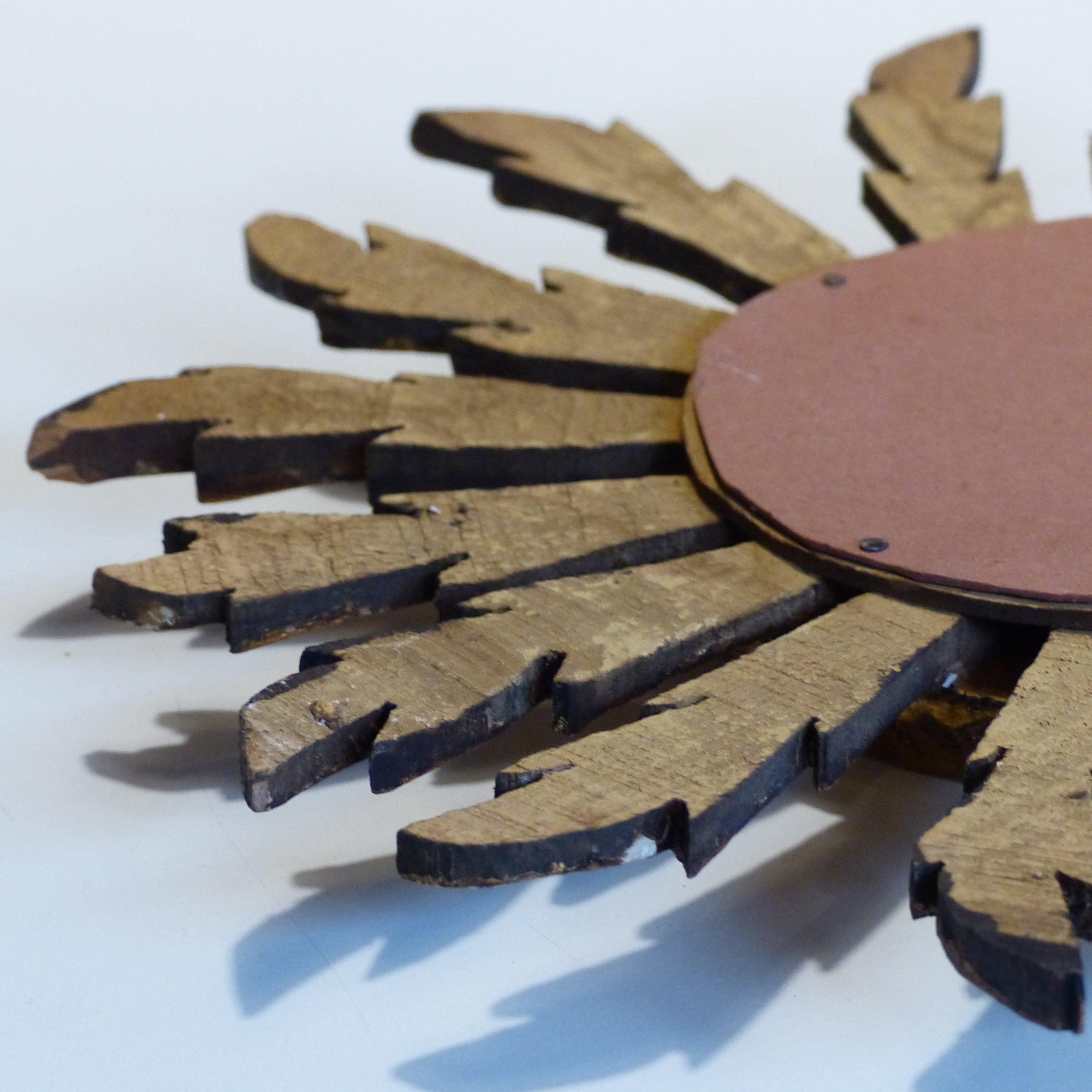 Petit Miroir Soleil En Bois Dor Et Glace Bombe