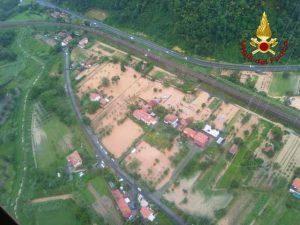 Un'immagine dall'alto della situazione nello spezzino dopo le abbondanti piogge