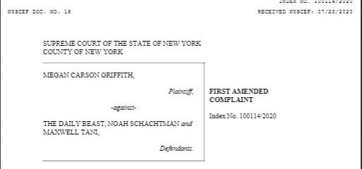 First page of Carson Griffith's defamation lawsuit against the Daily Beast