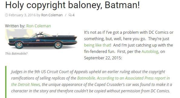 Batmobile copyright case