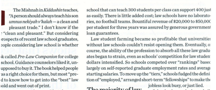 Ron Coleman on the Law School Bubble - Mishpacha magazine