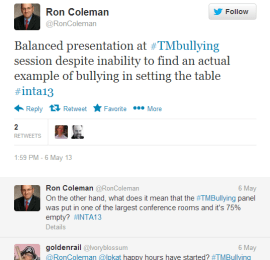 roncoleman tweet INTA trademark bullying
