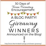 30 Days of Tween Parenting Encouragement Giveaway Winners