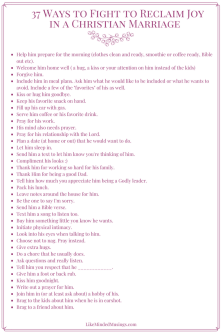 37 Ways to Fight to Reclaim Joy in Christian Marriage Pin Like Minded Musings