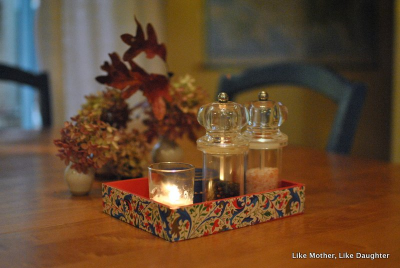 Decoupaged little wooden tray for the table ~ Like Mother, Like Daughter