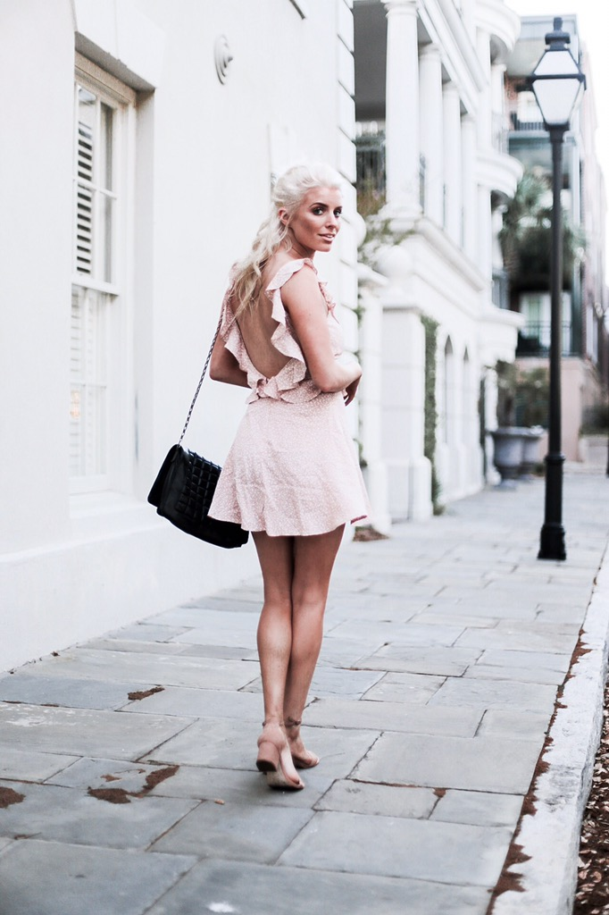 Polka Dots Flynn Skye Dress in Beige Orbit Revolve steve madden spring street style southern Charleston Fashion Blogger Dannon K. Collard Like The Yogurt