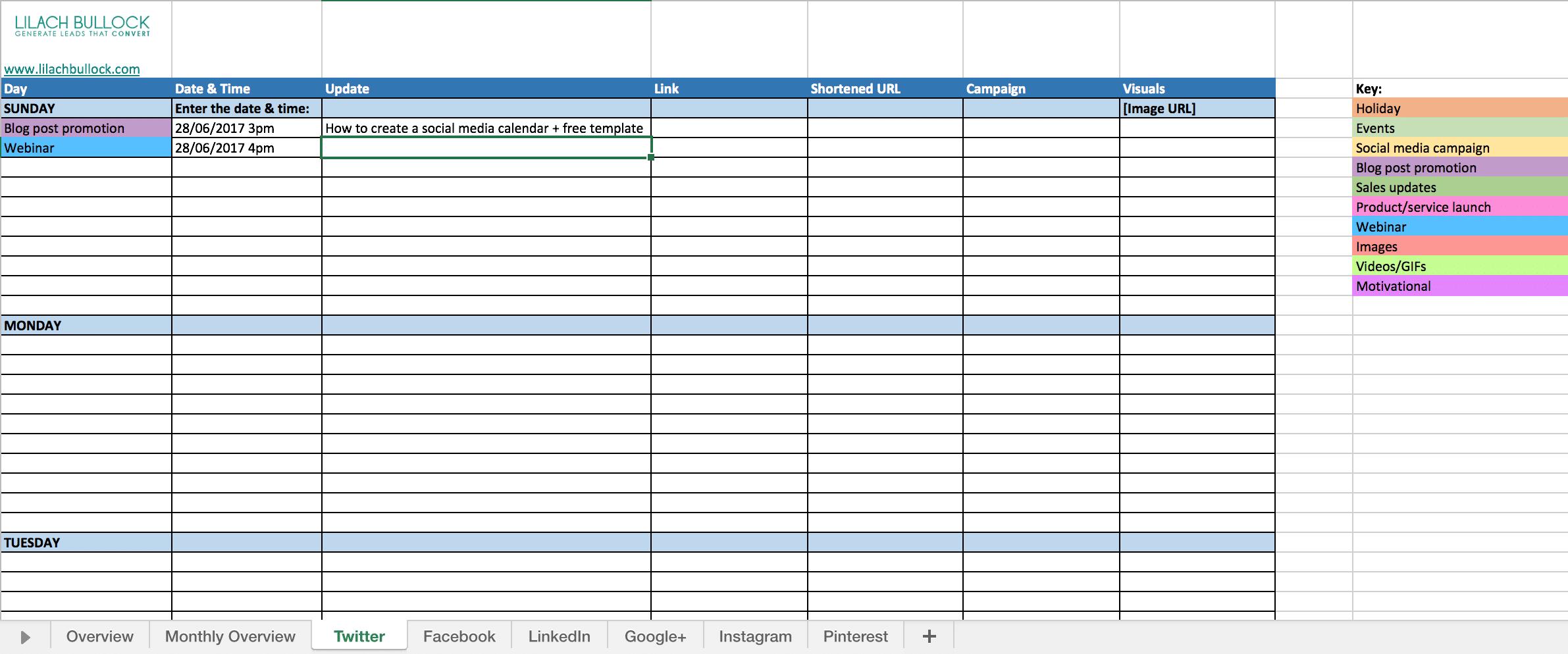 How To Create A Social Media Calendar Free Template