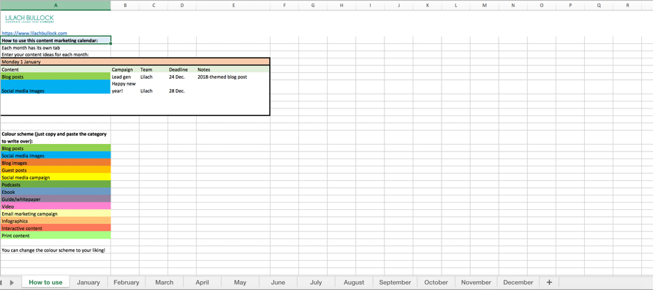 How To Create A Content Marketing Calendar Free Template