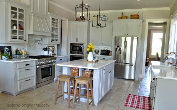 gray kitchen with marble counters