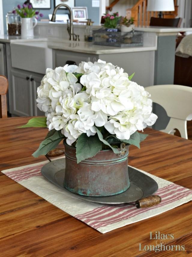 hydrangeas on farmhouse table