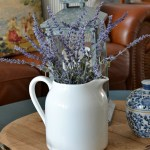 white pitcher with lavender