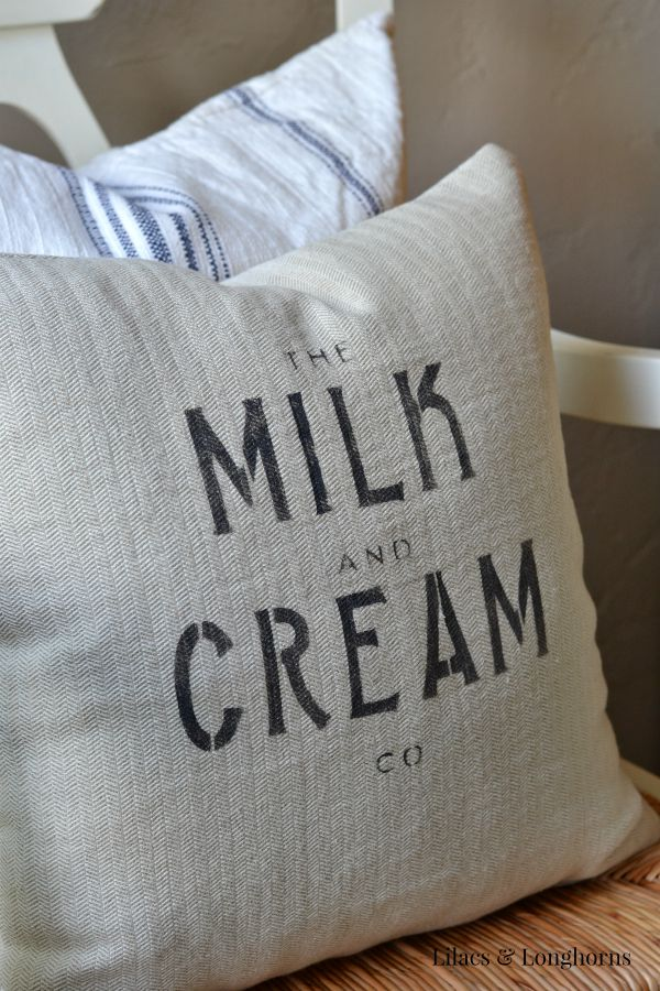 Adding Farmhouse Charm with Stencils {Grain Sack Pillow}