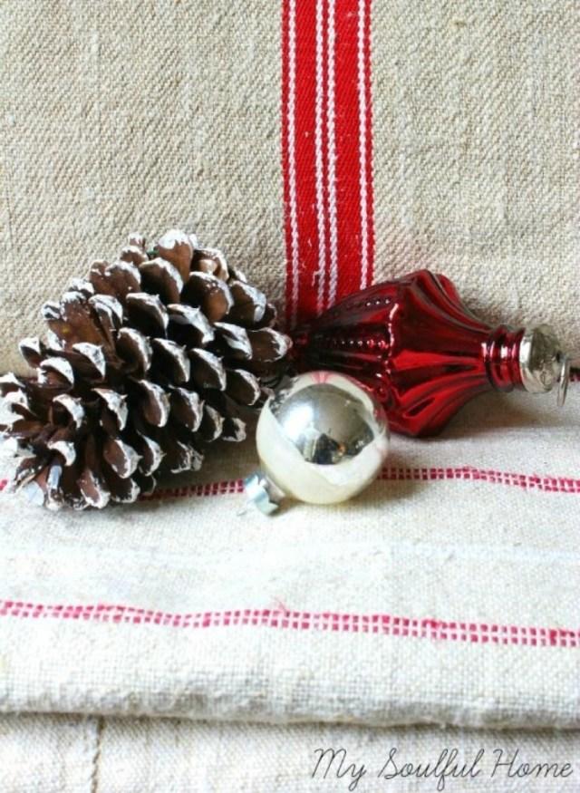 red striped vintage grain sacks Christmas