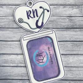 ITH RN Nursing id holder/luggage tag – 5 x 7 – Embroidery Design – DIGITAL Embroidery design
