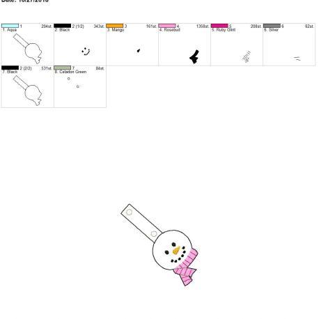 Snowman scarf snap tab 4×4