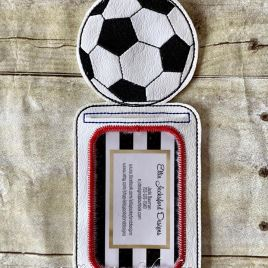 ITH Soccer ID holder/luggage tag – 5 x 7 – Embroidery Design – DIGITAL Embroidery design