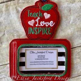 ITH Teach Love Inspire horizontal ID holder/luggage tag – 5 x 7 – Embroidery Design – DIGITAL Embroidery design