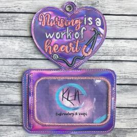 ITH Nursing is a Work of Heart horizontal ID holder/luggage tag – 5 x 7 – Embroidery Design – DIGITAL Embroidery design