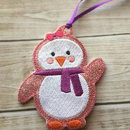 ITH – Girly Penguin Ornament 4×4 and 5×7 Grouped