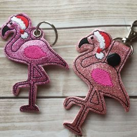 ITH Santa Flamingo Tab and eyelet Fobs 4×4 and 5×7 included- Embroidery Design – DIGITAL Embroidery DESIGN