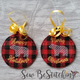 ITH Rustic Bear Holiday Ornaments 4×4 and 5×7 included- Embroidery Design – DIGITAL Embroidery DESIGN