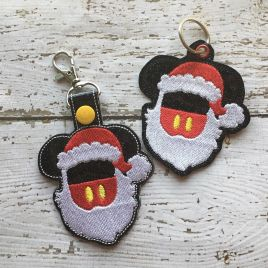 ITH Santa Mouse With Beard Snap Tab Fob 4×4 and 5×7 included- Embroidery Design – DIGITAL Embroidery DESIGN