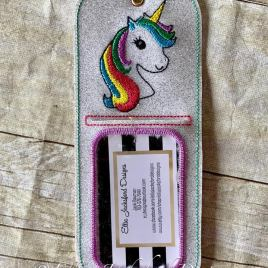 ITH Unicorn ID holder/luggage tag – 5 x 7 – Embroidery Design – DIGITAL Embroidery design