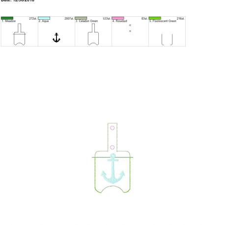 Anchor Sanitizer holder snap tab 5×7