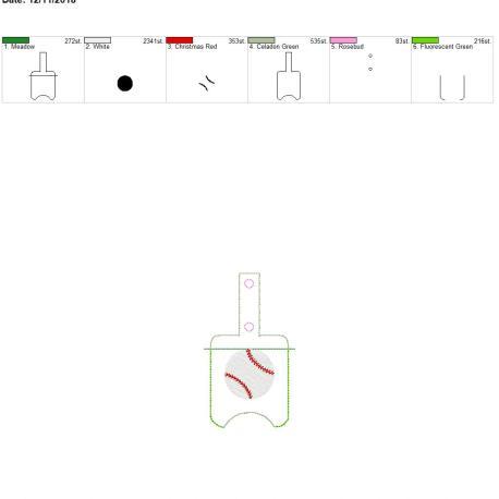 Baseball Sanitizer holder snap tab 5×7