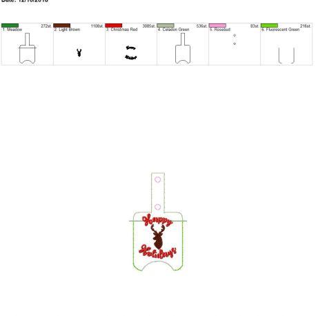 Deer Happy Holidays Sanitizer holder snap tab 5×7 – Copy