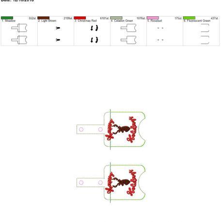 Deer Happy Holidays Sanitizer holder snap tab 5×7 grouped