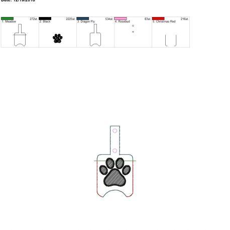 Paw Sanitizer holder snap tab 5×7