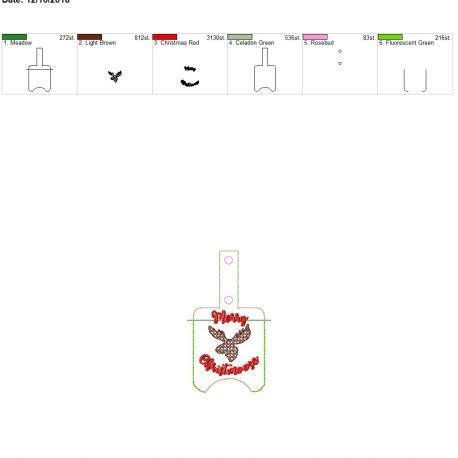 Rustic Merry Christmoose Sanitizer holder snap tab 5×7