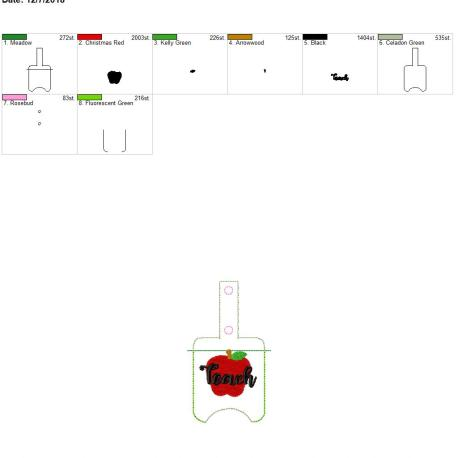 Teach sanitizer holder snap tab 5×7