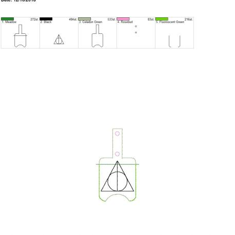 Wizard Triangle Sanitizer holder snap tab 5×7