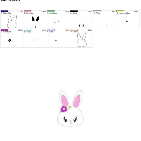 Bunny 3.75inch feltie 4×4