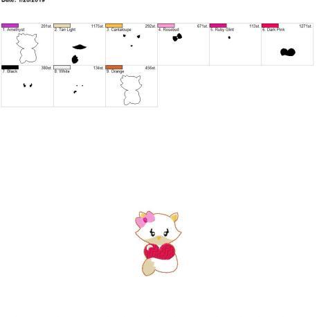 Valentine Girl Fox 3inch feltie 4×4