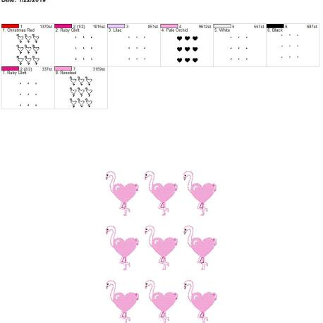 Valentine Heart Flamingo 2inch feltie 5×7 grouped