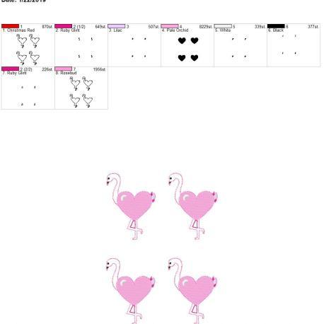 Valentine Heart Flamingo 3inch feltie 5×7 grouped