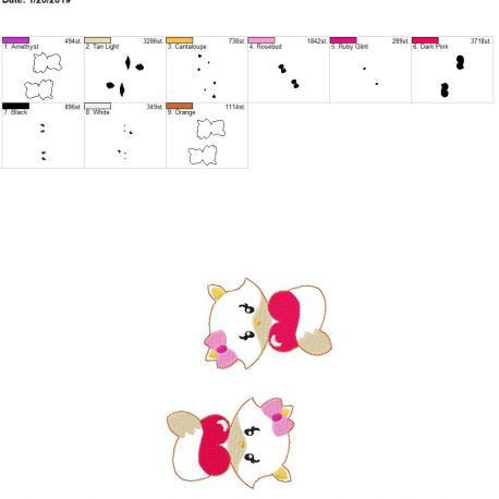Valentine girl Fox 3.75inch feltie 5×7 grouped