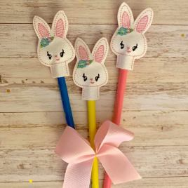 ITH Bunny Girl Pencil Topper 4×4 and 5×7 included- Embroidery Design – DIGITAL Embroidery DESIGN