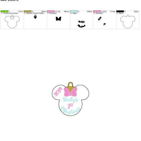 Babys girl mouse first christmas 2019 Ornament 4×4