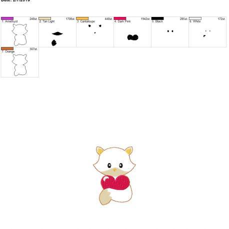 Valentine Boy Fox 3.75inch feltie 4×4