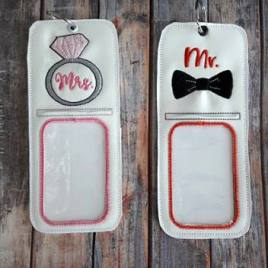 ITH Mr. and Mrs. ID holder/luggage tag set – 5 x 7 – Embroidery Design – DIGITAL Embroidery design