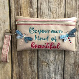 ITH – 3D Be Your Own Kind of Beautiful Dragonfly Zipper Bag & Wristlet 5×7 and 6×10 – Digital Embroidery Design