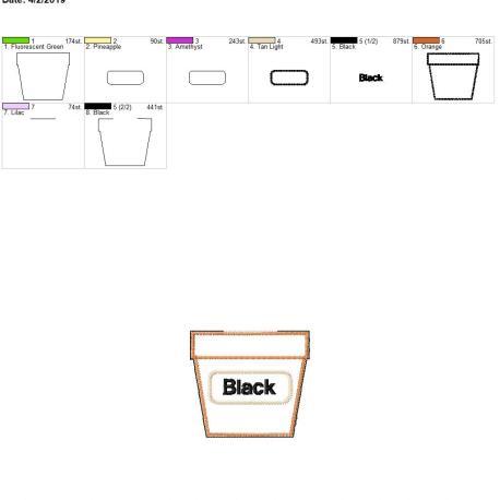 Color matching Black flower pot feltie 4×4
