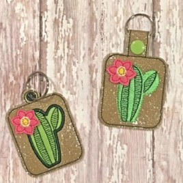 ITH 3D Cactus fobs 4×4 and 5×7 included- DIGITAL Embroidery DESIGN